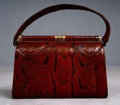 Vintage 1940s Snakeskin Hand Bag with Brass Frame & Hardware