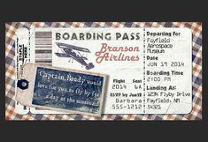 Avion d'embarquement Vintage Invitation pour fête d'anniversaire, Bon Voyage, mariage, Save the Date (téléchargement immédiat de bricolage modèle imprimable) sur Etsy, 2,25 €