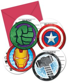 Avengers Pack Of 6 Party Invite Cards With Envelopes Marvel Disney Invitations Invitations Disney, Invitation Envelopes, Invitation Cards, Birthday Invitations, Avenger Party, The Avengers, Hulk, Comic Party, Party Set
