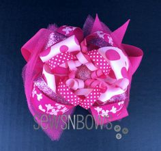 Pink stacked hair bow with loopers & corkers | SewsNBows
