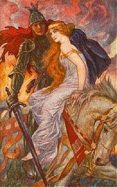 "Avalon Camelot King Arthur:  ""Lancelot Bears Off Guenevere,"" by H. J. Ford."