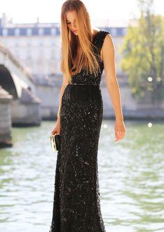 Shiny. Black. Long Dress. Fitted. Belted. Spring Dress. Formal. Short Sleeve. Neck High.