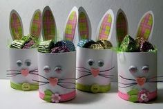 """So cute for Easter. bunny Easter """"basket"""" made with recycled cans. Easter Projects, Easter Crafts For Kids, Hoppy Easter, Easter Bunny, Spring Crafts, Holiday Crafts, Toilet Paper Roll Crafts, Easter Traditions, Bunny Crafts"""