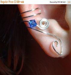 ON SALE Ear Cuff Saltire Blue Sapphire Swarovski Crystal, No Piercing, Fairy Jewelry, Fantasy Vine Wrap, Gift Idea, Gift for Her