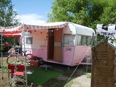 Still one of my faves: pink Shasta with the striped pink awning.  Really, what more could a girl want??