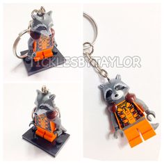 BOGO Buy 1 Get 1 Promo! Lego® Guardians of the Galaxy Rocket Raccoon Keychain, FREE Lego® Minifigure Keychain Groot Christmas Gift Toys on Etsy, $12.00
