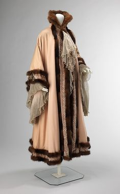 Jacques Doucet, Evening Coat, Combination of Fabrics, Chiffon, Velvet, Eyelet & Mink. Paris, 1902.