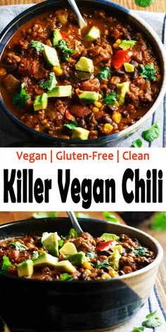 Feb 2020 - Killer Vegan Chili - hold on to a soup ,'cause that is some killer chili. It is hearty, spicy and packed with slow-cooked taste! A excellent source of nutrients, vitamins, protein and fiber. Vegan Dinner Recipes, Whole Food Recipes, Vegetarian Recipes, Healthy Recipes, Vegan Chili Recipes, Vegetarian Chili, Vegan Soups, Vegan Dishes, Chile