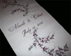 Wedding aisle runner, hand painted red roses, names & wedding date