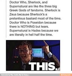 """Dr Who, Sherlock and Supernatural, along with Homestuck (webcomic) and Hetalia (anime) make """"The Big 5"""", five biggest fandoms on the internet"""