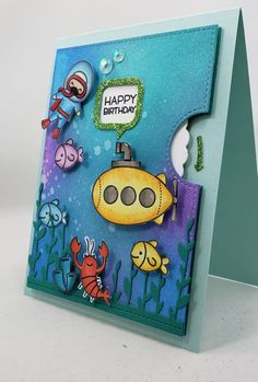 Birthday Reveal Wheel Spinner Card Submarine Swimmer Scuba Birthday Quotes, Birthday Cards, Happy Birthday, Rakhi Cards, Spinner Card, One Fish Two Fish, Lawn Fawn Stamps, Some Cards, Hand Coloring
