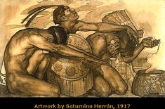 "MODERNISMO COSTUMBRISTA - ""Nuestros Dioses"" (tríptico) - Saturnino Herrán - 1917"