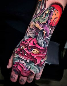 Snake and monster tattoo for men done by tattoo artist Toni Angar Japanese Hand Tattoos, Japanese Mask Tattoo, Japanese Tattoo Artist, Japanese Tattoo Designs, Oni Tattoo, Hannya Maske Tattoo, Demon Tattoo, Snake Tattoo, Tattoo Ink