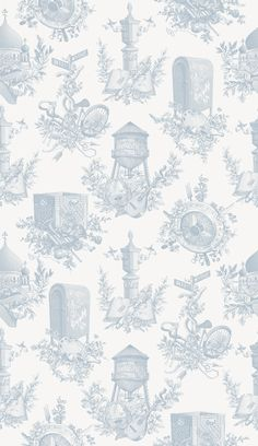 Created by Dan Funderburgh for Wythe Hotel, this nouveau toile is a delicate tribute to the perfectly imperfect sights and scenes of Williamsburg, Brooklyn. Toile Wallpaper, Custom Wallpaper, Designer Wallpaper, Pattern Wallpaper, Unusual Wallpaper, Wythe Hotel, Handmade Flowers, Vintage Walls, Williamsburg Brooklyn