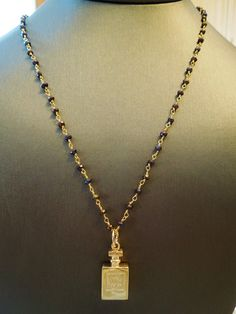 Gold Chanel No 5 Perfume Charm on Hand Wired Mystic Topaz Gemstone Sterling Gold Vermeil Chain