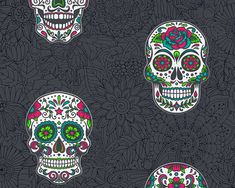 Non-Woven Wallpaper Death Head Sugar Skull Black Colourful Quirky Wallpaper, Skull Wallpaper, Luxury Wallpaper, Kids Wallpaper, Black Wallpaper, Pattern Wallpaper, Black Skulls, Skull Design, Vinyl