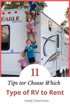 Necessary questions to ask before signing a Before you plan an RV trip you need to decide which type of camper to rent. With so many types of RVs how can you decide if you want a motorhome, travel trailer, fifth wheel or pop up? And what is the difference anyway? We help you decide what type of RV to choose for your rental. Travel With Kids, Family Travel, Rent Rv, Small Campers, Rv Rental, Rv Travel, Rv Life, Rv Camping, Family Kids