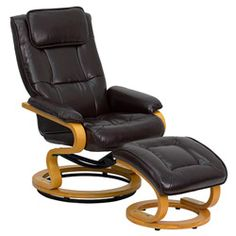 Contemporary Brown Leather Recliner and Ottoman | Overstock™ Shopping - Big Discounts on Flash Furniture Recliners