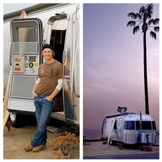 "Real men travel with Airstreams! And not many are hotter than Matthew McConaughey! His first Airstream was a 2004 Airstream International CCD Architectural Digest writes: ""McConaug… Rv Travel Trailers, Travel Trailer Remodel, Airstream Trailers, Airstream Remodel, Airstream Interior, Shasta Trailer, Camper Caravan, Matthew Mcconaughey, Autos"