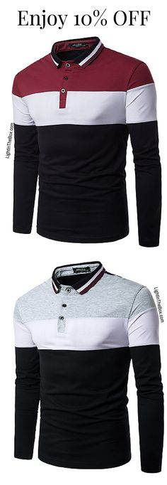 Casual daily wear long sleeve men polar shirt. Find one in tricolour - wine-white-black... Just at $11.69. Click to shop!