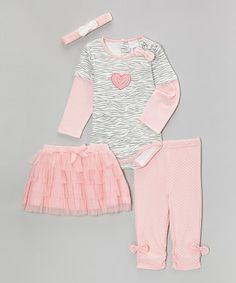 Loving this Pink Zebra Heart Bow Layered Bodysuit Set - Infant on #zulily! #zulilyfinds