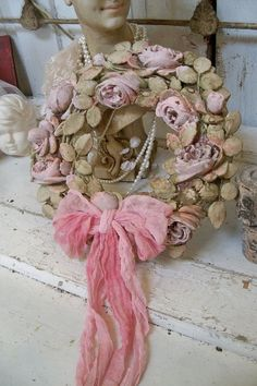 Plaster carved rose shabby chic wreath painted by AnitaSperoDesign, $110.00