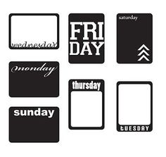 Free Days of the week printables and cut files for silhouette