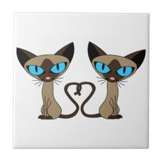 Cute Siamese Cats Tail Heart Ceramic Tile