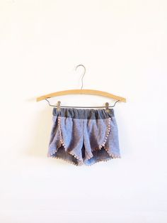 Chambray with crochet lace trim children's shorts