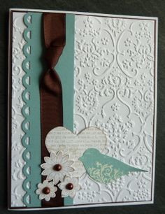 mbossing stencil - no name Punches and dies Stampin Up - Punch Potpouri and the appropriate stamping on this stamp Border Punch - Fiskars Spellbinder brown bands - no name Half pearls pearl - colored with alcohol ink Ginger Turquoise Stickles