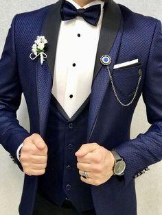 Ruelk Groom Suit Wedding Suits for Men 2018 Mens Suit Wedding Groom Slim Fit Tuxedo, Tuxedo Suit, Tuxedo For Men, Prom Tuxedo, Blue Tuxedo Wedding, Wedding Tux, Wedding Dress Men, Wedding Suits For Groom, Best Wedding Suits