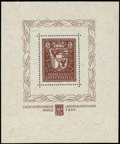 Lichtenstein. 115, 1934 Agricultural Exhibition S/S, well centered, stamp NH, very lightly hinged in the margin only, Very Fine (Scott $1,200)    Dealer  H.R. Harmer    Auction  Minimum Bid:  420.00US$