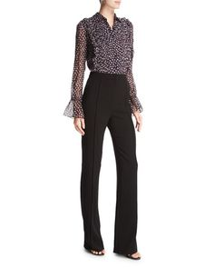 """Diane von Furstenberg """"Ariella"""" jumpsuit with trouser and dot-print chiffon blouse combo. Spread collar; button front with ruffle-trim pintucked bib. Long, sheer sleeves; elasticized poet cuffs. Rise"""