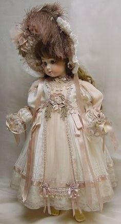"Doll Dress for 24"" white w/ pink ~*~ Dress by Cheryl Imbornone  ♥ Dollightfully Yours ♥"