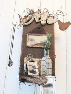 Assemblage Art Wall Shelf Repurposed Wood with Photo Holder