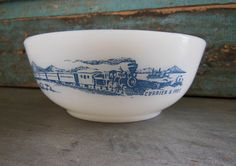 Currier and Ives Glasbake Milk Glass Bowl by turquoiserollerset, $6.00