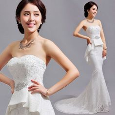 Sexy White Beaded Lace Mermaid Peplum Wedding Bridal Dress Discount SKU-117147
