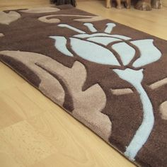 Damask Hallway Runners in Brown and Duck Egg Blue - Free UK Delivery - The Rug Seller