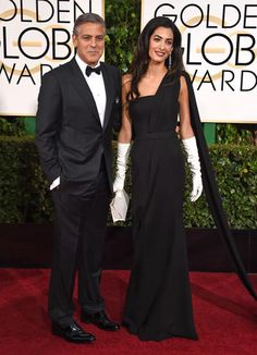 George Clooney and Amal Clooney in Dior gown, Golden Globe Awards 1-11-2015