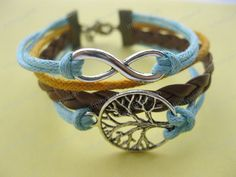 Karma-wish tree bracelet,infinity bracelet,wax cords bracelet,braid leather bracelet-Z222. $7.99, via Etsy.