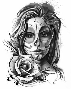 amazing and creative drawing ideas tattoo drawings chicano tattoos, tat Tattoo Girls, Girl Face Tattoo, Girl Tattoos, Tattoos For Guys, Tatto Man, Tattoo Design Drawings, Skull Tattoo Design, Tattoo Sketches, Tattoo Designs Men