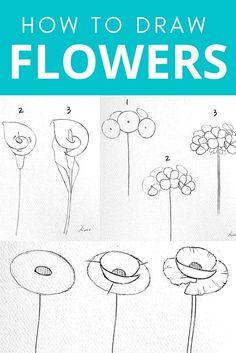 Easy Flower Drawings, Beautiful Flower Drawings, Flower Art Drawing, Flower Drawing Tutorials, Floral Drawing, Painting & Drawing, Drawing Tutorials For Beginners, Watercolor Pencil Art, Watercolor Flowers Tutorial