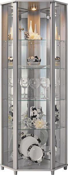 Corner Glass shelves Living Room - Glass shelves Decor Bookshelves - Glass shelves In Bathroom Decor - - Floating Glass shelves Glass Curio Cabinets, Corner China Cabinets, Crockery Cabinet, Glass Shelves In Bathroom, Floating Glass Shelves, Showcase Cabinet, Glass Showcase, Living Room Modern, Living Room Designs