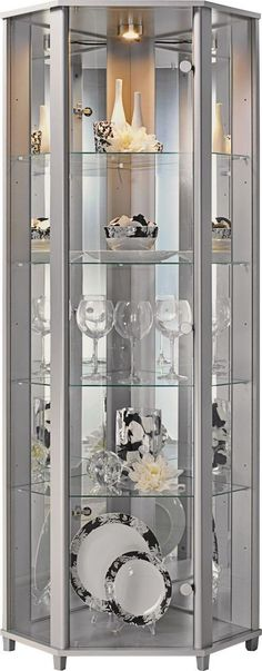 Corner Glass Display Cabinet - Silver Effect.