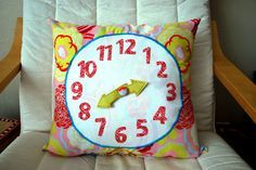 Clock Pillow - The Silly Pearl.  Tutorial.  But use a round pillow for a Daniel Tiger look.