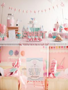A Cotton Candy Themed party with Light Bulb Marquee Sign, strawberry pink milk, DIY cotton candy garland, personalized chefs hats, tutus + simple white cake