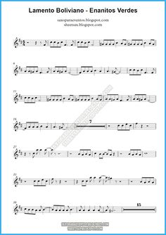 Partitura y pista de Lamento Boliviano de Enanitos Verdes | Partituras y pistas para saxo | Sheet music and Play Along for sax Guitar Chords, Ukulele, Because I Love You, My Love, Trumpet Sheet Music, Saxophone Sheet Music, Piano Songs, Music Theory, Cello