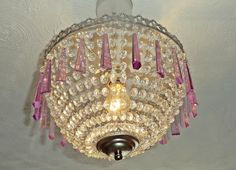 Unique Bespoke Chandelier Lampshade Baguette Bag Basket Light  Clear Glass & Lilac Violet Chic Drops Crystals Retro Vintage Antique Style by SeearLights on Etsy https://www.etsy.com/listing/204185908/unique-bespoke-chandelier-lampshade