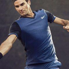 Nike Mens Premier RF V-Neck Shirt - Midnight Navy/Black - Tennisnuts.com