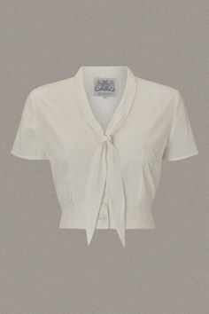 40's Vintage Inspired 'Bonnie' Blouse in Cream